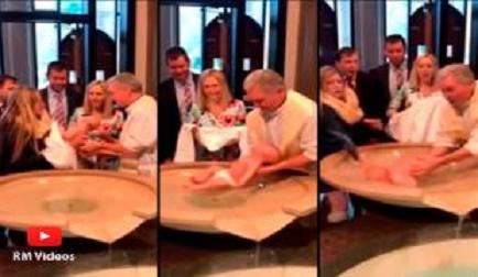 Bebé se le zafó al Sacerdote en la pila bautismal, (VER VIDEO)