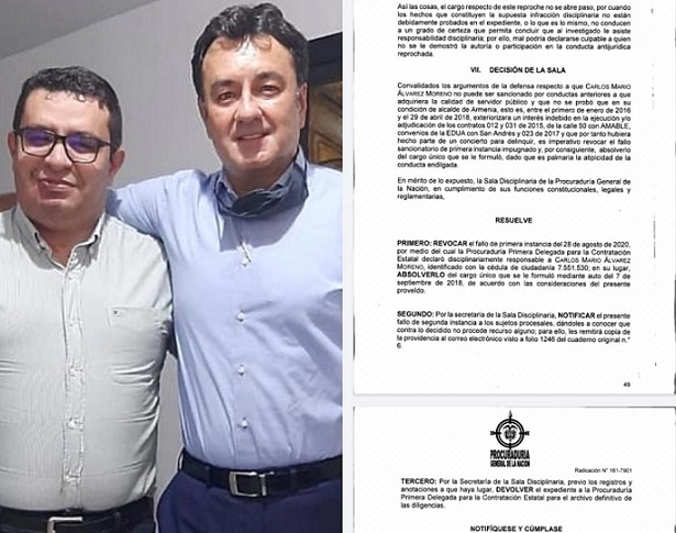 Sala disciplinaria de la Procuraduría revoca destitución e inhabilidad por 20 años al Exalcalde de Armenia, Quindío, Carlos Mario Álvarez Morales