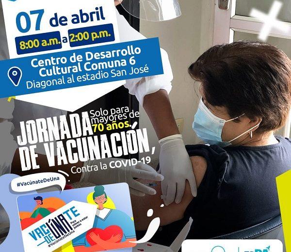 Este 7 de abril vacunación contra la COVID-19 en el CDC del Barrio San José de Armenia, Quindío