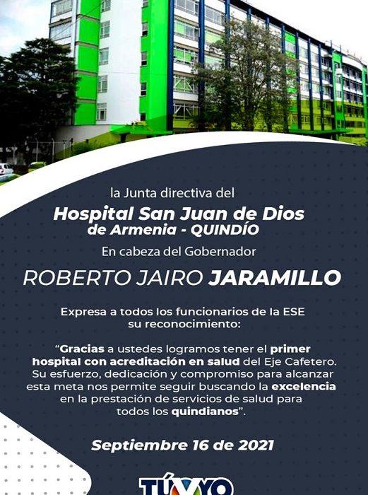 Hospital universitario San Juan de Dios de Armenia obtuvo la certificación de Acreditación en Salud.